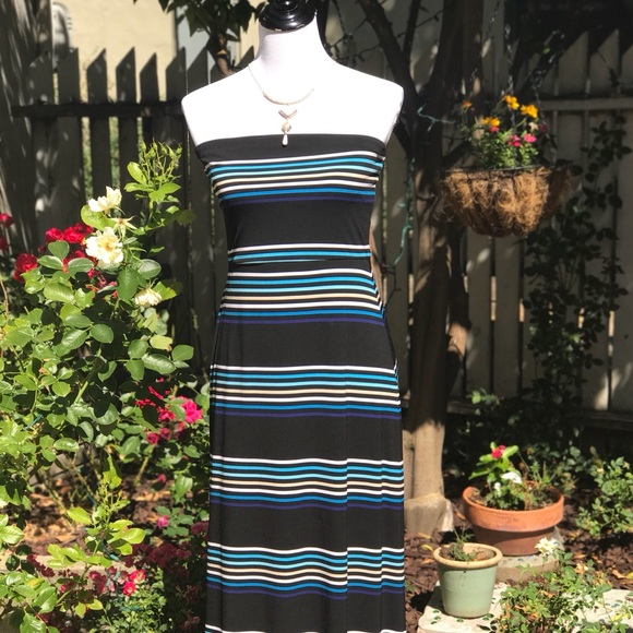White House Black Market Strapless Striped Maxi